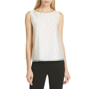 THEORY | A LINE SLEEVELESS TOP WHITE SILK BLOUSE